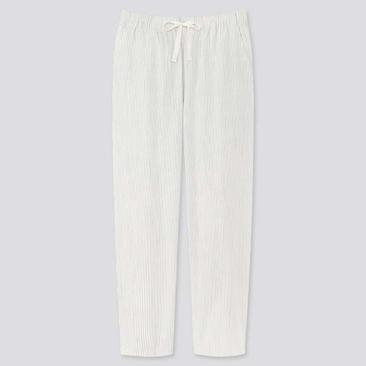 Women Cotton Relax Ankle-Length Pants, Off White, Large