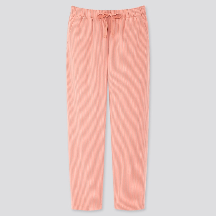 Women Cotton Relax Ankle-Length Pants, Pink, Large
