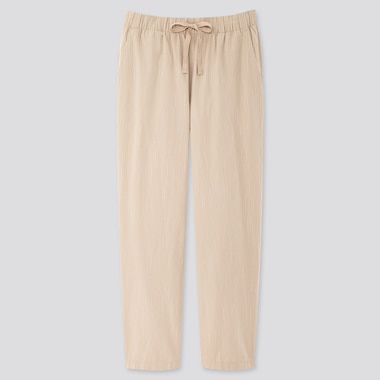 Women Cotton Relax Ankle-Length Pants, Natural, Medium