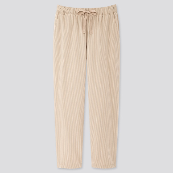 Women Cotton Relax Ankle-Length Pants, Natural, Large