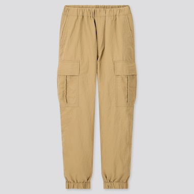 Kids Wide-Fit Cargo Jogger Pants, Beige, Medium