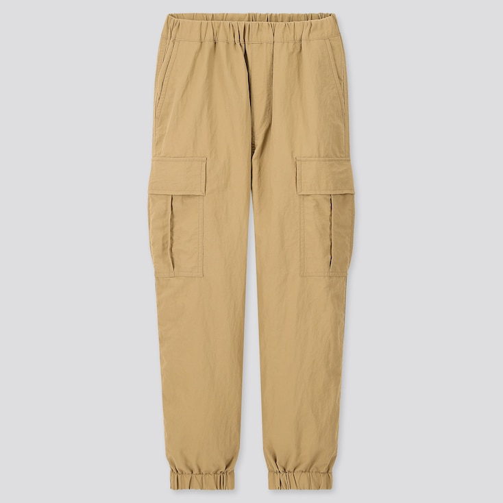 Kids Wide-Fit Cargo Jogger Pants, Beige, Large