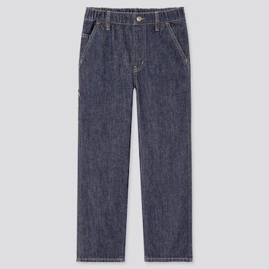 Kids Wide-Fit Denim Painter Pants, Blue, Medium