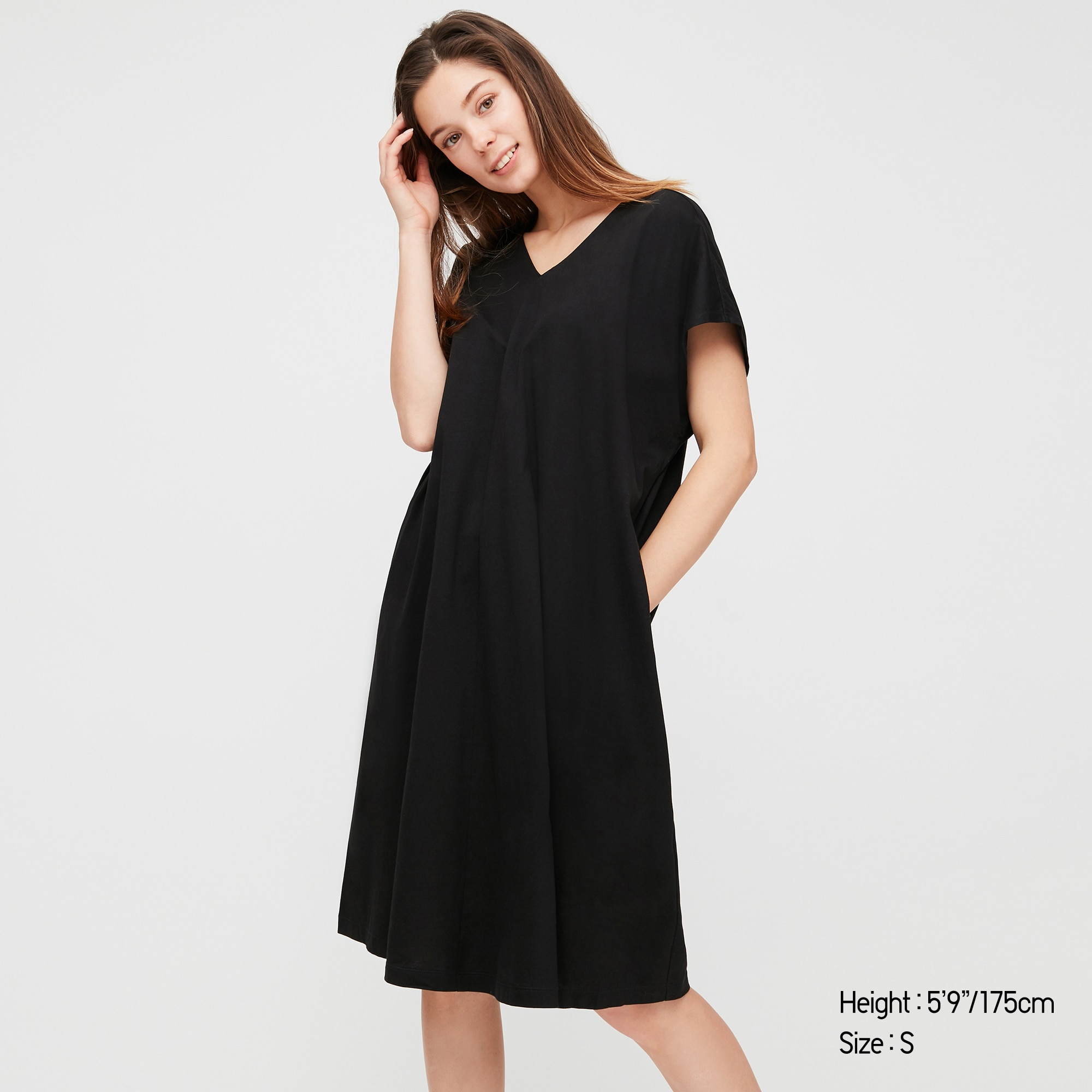 Uniqlo women mercerized cotton short-sleeve cocoon dress