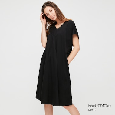 Women Mercerised Cotton Short Sleeved Cocoon Silhouette Dress