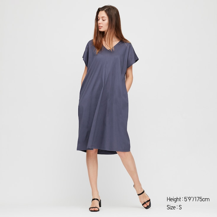 Women Mercerized Cotton Short-Sleeve Cocoon Dress, Blue, Large