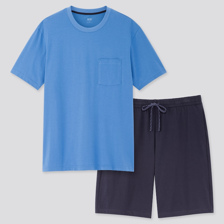 Men Airism Short-Sleeve Set, Blue, Large