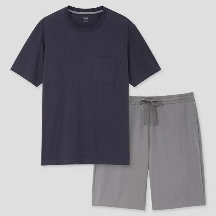 Men Airism Short-Sleeve Set, Navy, Large