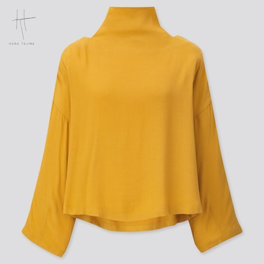 Women Rayon Tie Back Long-Sleeve Blouse (Hana Tajima) (Online Exclusive), Yellow, Medium