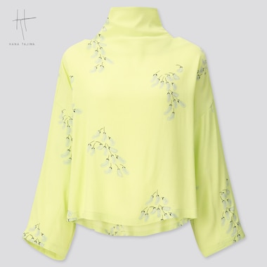 Women Rayon Tie Back Long-Sleeve Blouse (Hana Tajima) (Online Exclusive), Light Green, Medium