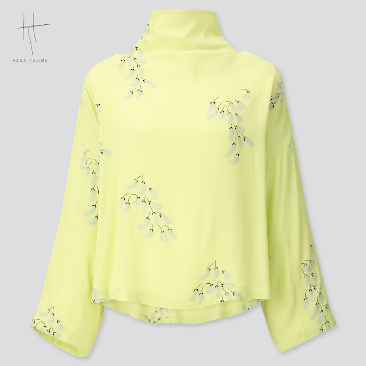 Women Rayon Tie Back Long-Sleeve Blouse (Hana Tajima) (Online Exclusive), Light Green, Large