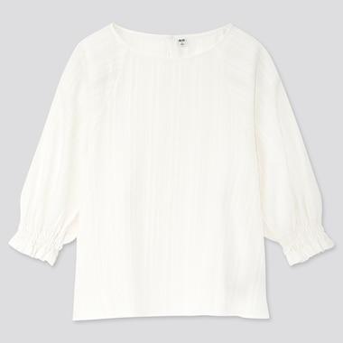 Women Cotton Dobby 3/4 Sleeve Blouse, White, Medium
