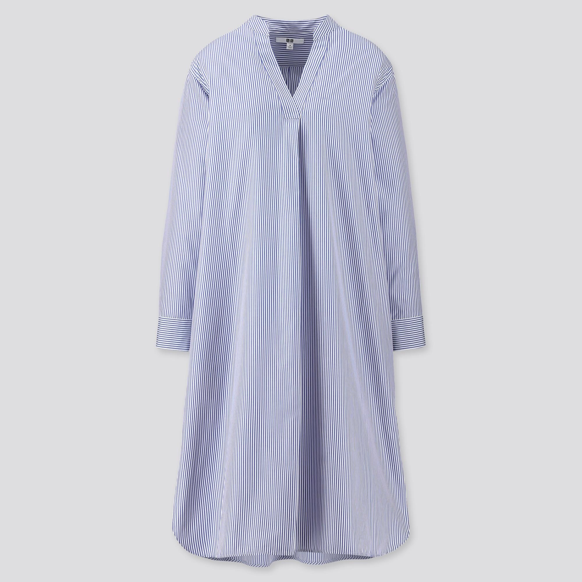 Women Extra Fine Cotton A-Line Striped Long Sleeved Dress
