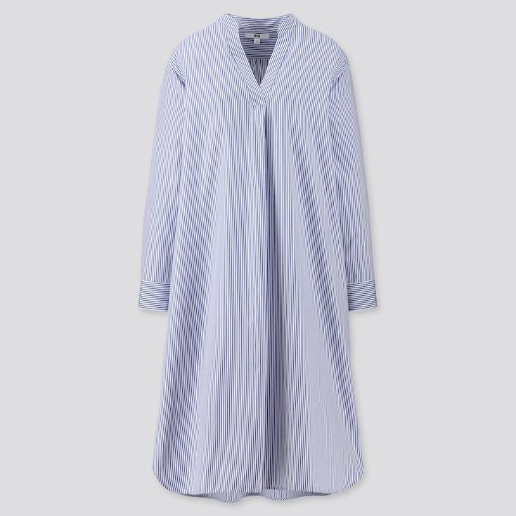 Women Extra Fine Cotton A-Line Striped Long-Sleeve Dress, Blue, Large