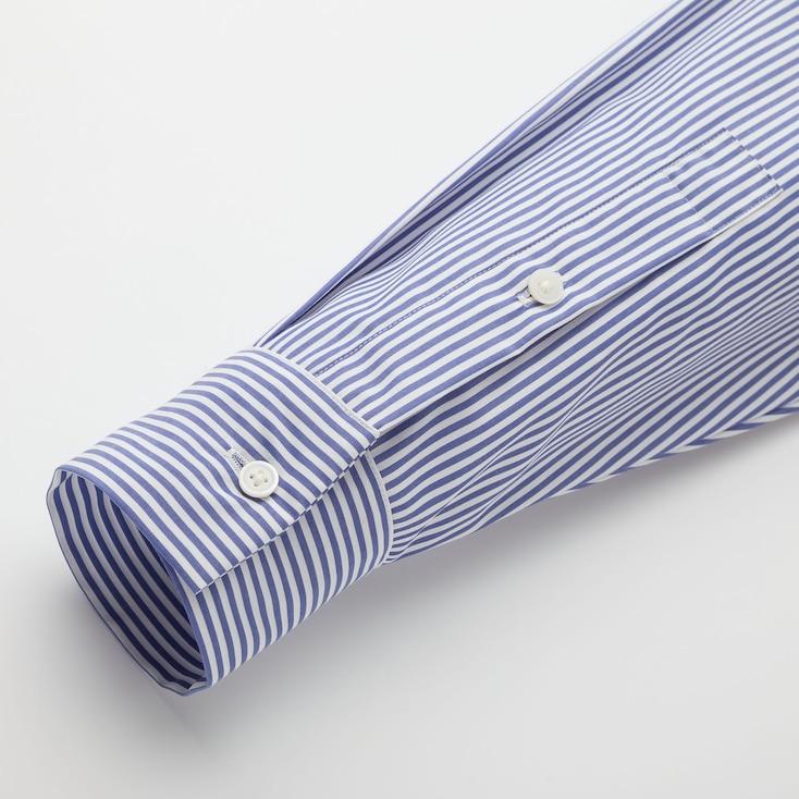 Women Extra Fine Cotton A-Line Striped Long-Sleeve Dress, Navy, Large