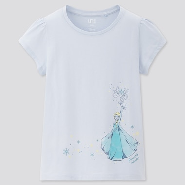Kids Disney Heroines Ut (Short-Sleeve Graphic T-Shirt), Light Blue, Medium