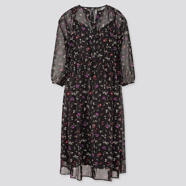 Women Joy Of Print Chiffon 3/4 Sleeve Dress, Black, Medium