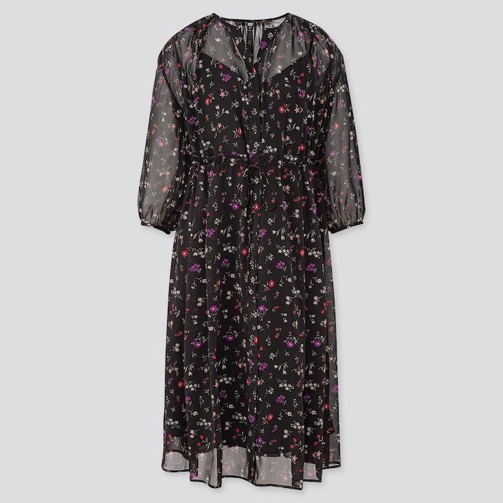 Women Joy Of Print Chiffon 3/4 Sleeve Dress, Black, Large