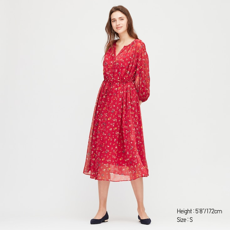 Women Joy Of Print Chiffon 3/4 Sleeve Dress, Red, Large