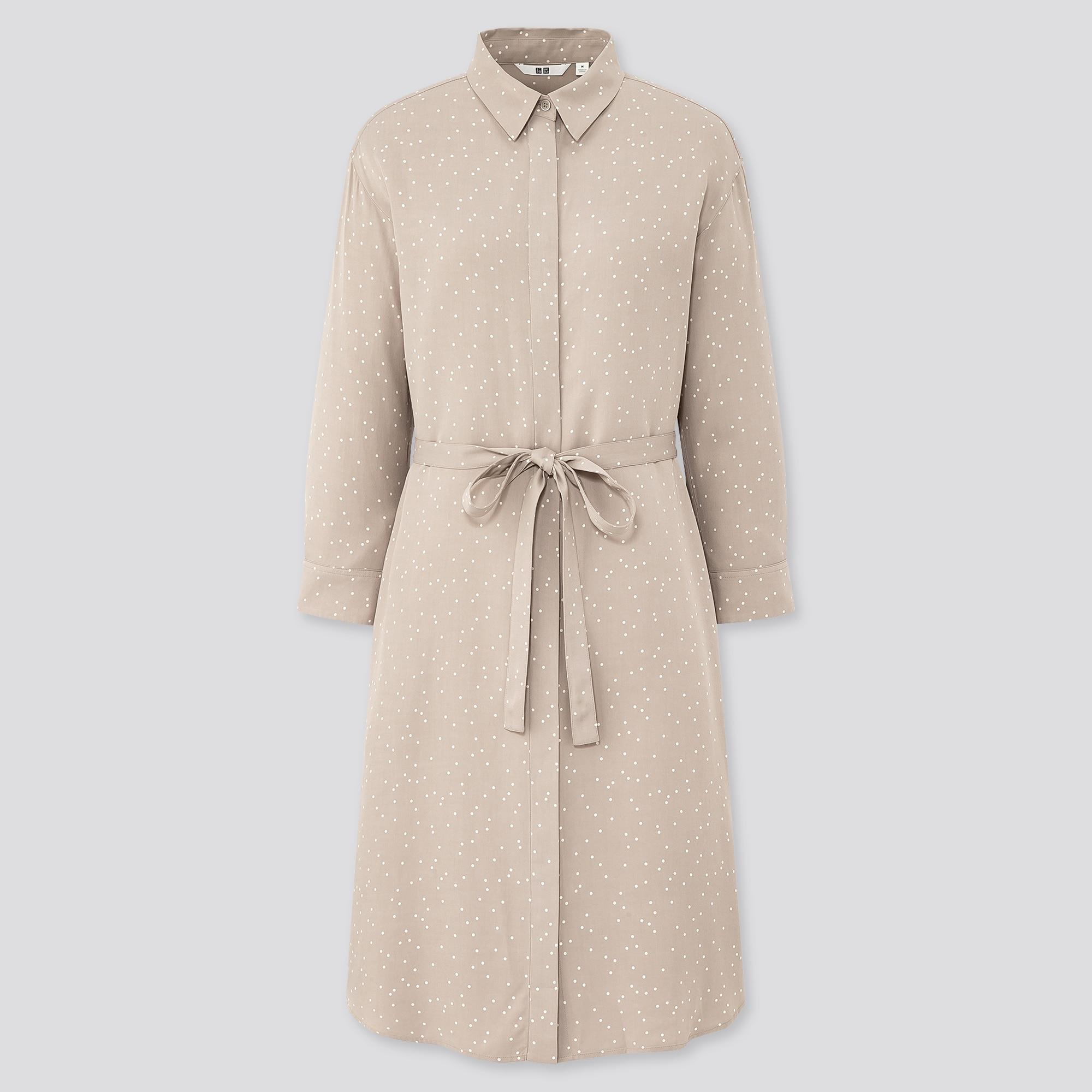 WOMEN RAYON PRINTED 3/4 SLEEVE SHIRT DRESS
