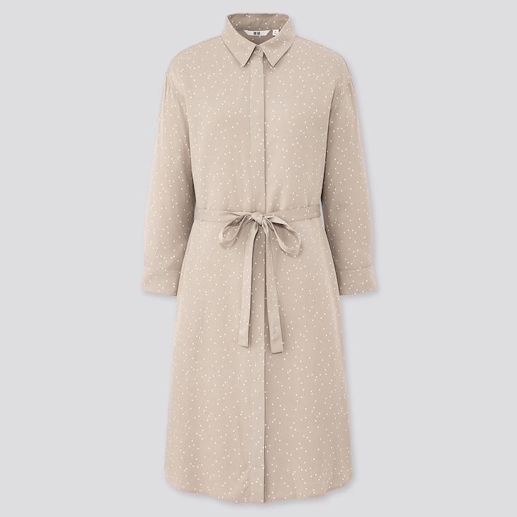 Women Rayon Printed 3/4 Sleeve Shirt Dress, Gray, Large