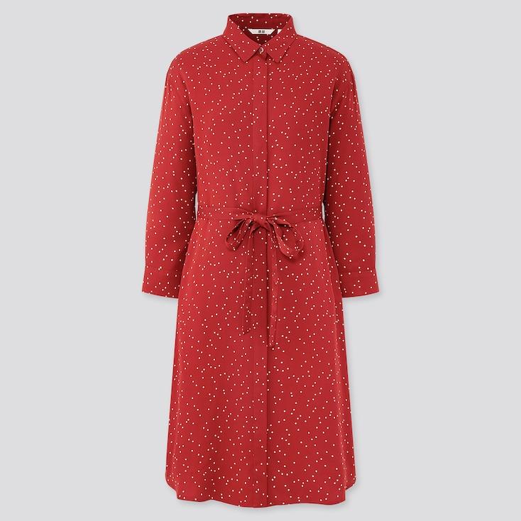 Women Rayon Printed 3/4 Sleeve Shirt Dress, Red, Large