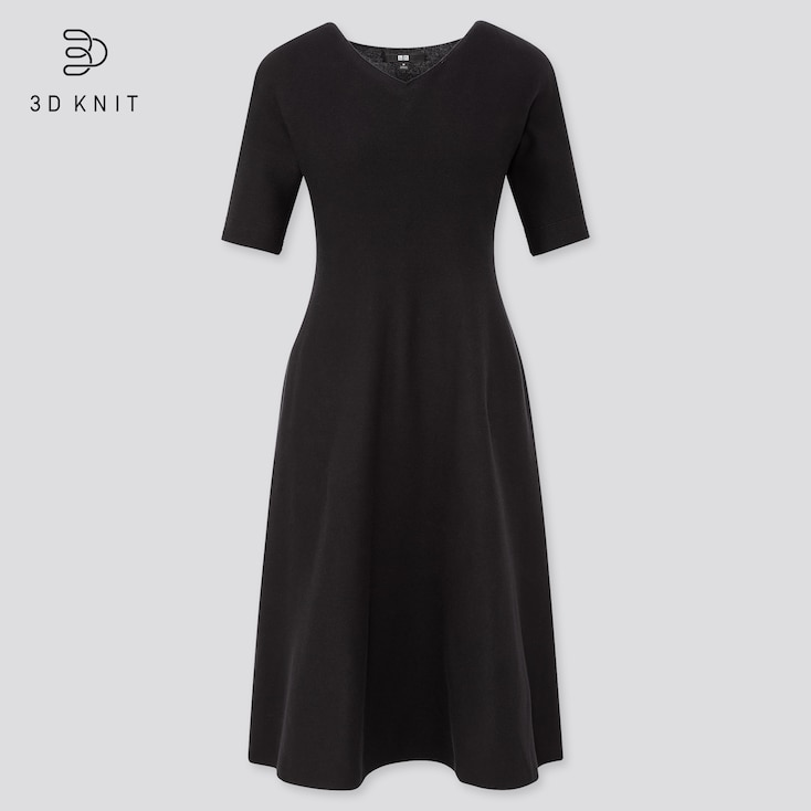 Women 3d Cotton Short-Sleeve Flare Dress (Online Exclusive), Black, Large