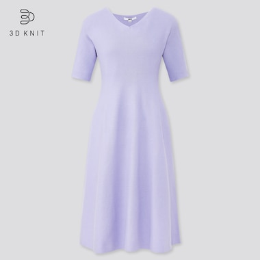 Women 3d Cotton Short-Sleeve Flare Dress, Purple, Medium