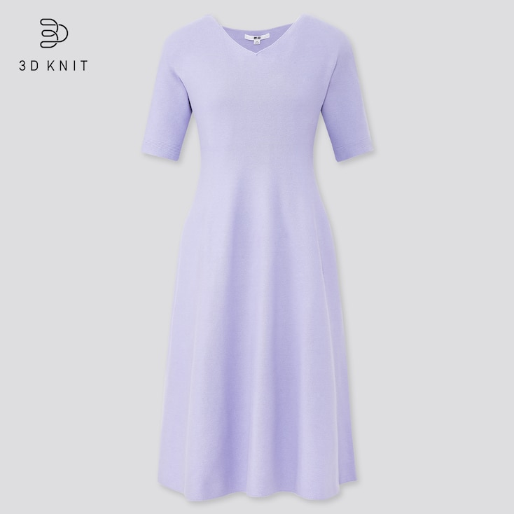 Women 3d Cotton Short-Sleeve Flare Dress, Purple, Large