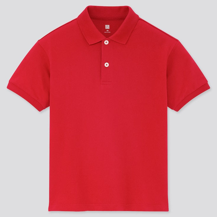 Kids Dry Pique Short-Sleeve Polo Shirt, Red, Large