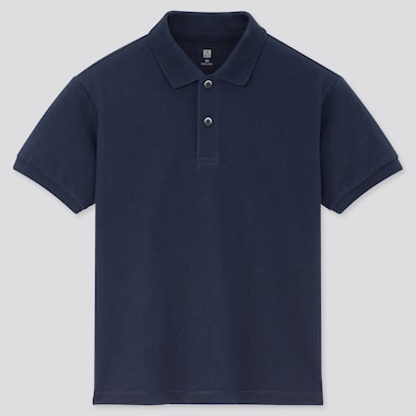 Kids Dry Pique Short-Sleeve Polo Shirt, Navy, Medium