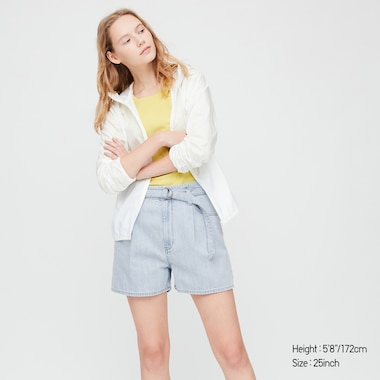 Women High-Rise Belted Denim Shorts, Blue, Medium