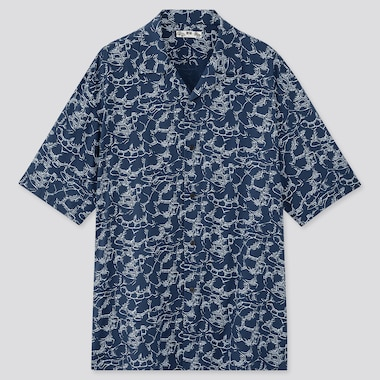Men Japanese Auspicious Symbol Short Sleeved Shirt (Open Collar)