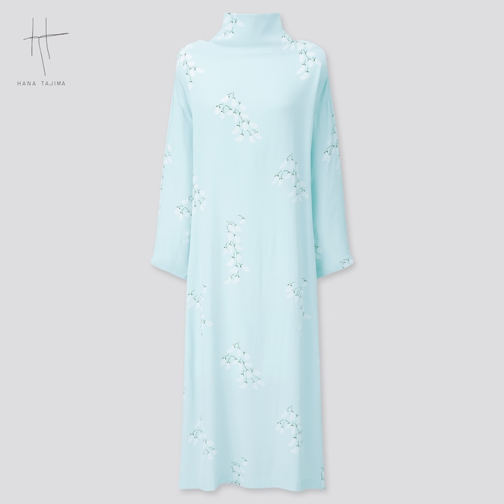 Women Rayon Printed Tie-Back Long Dress (Hana Tajima) (Online Exclusive), Light Blue, Large
