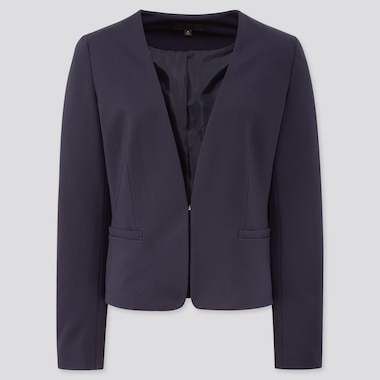 Women Ponte Collarless Jacket, Navy, Medium