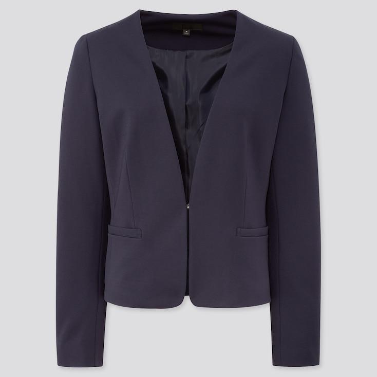 Women Ponte Collarless Jacket, Navy, Large