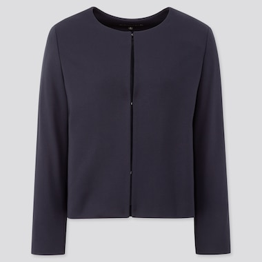 Women Ponte Round Neck Jacket, Navy, Medium