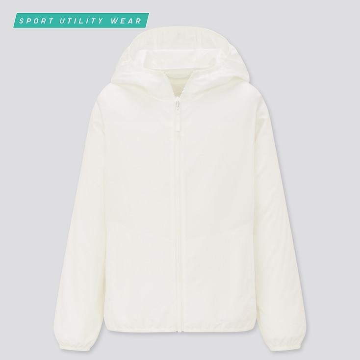 Kids Uv Protection Pocketable Parka, White, Large