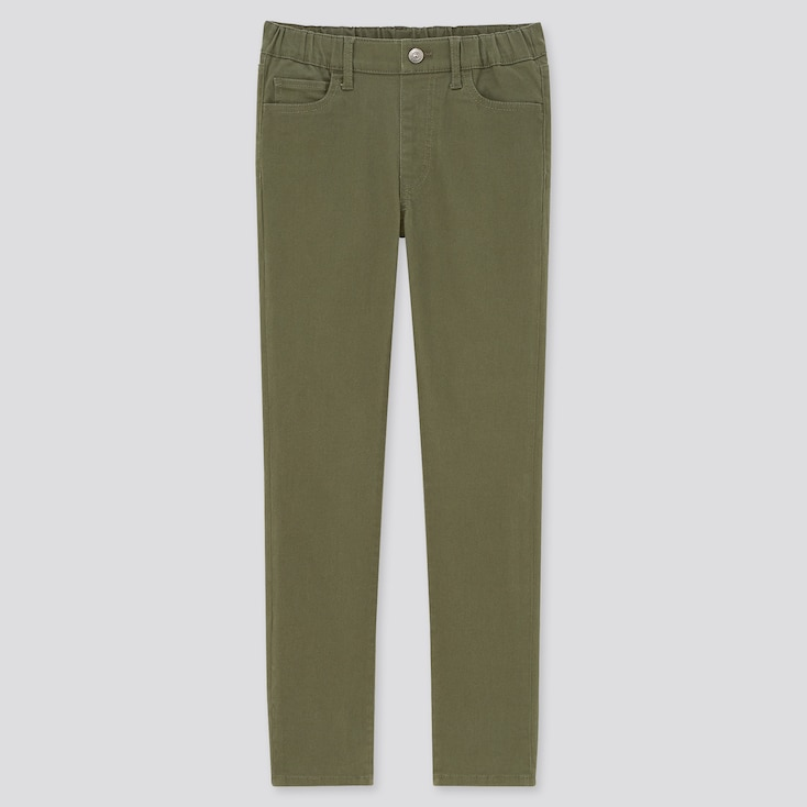 Kids Ultra Stretch Slim-Fit Pull-On Pants, Olive, Large