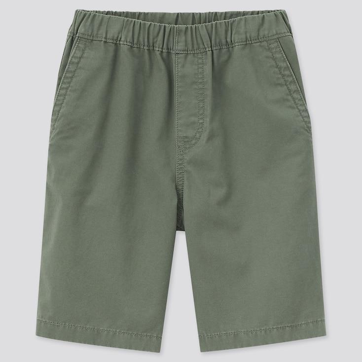 Kids Twill Easy Shorts, Olive, Large