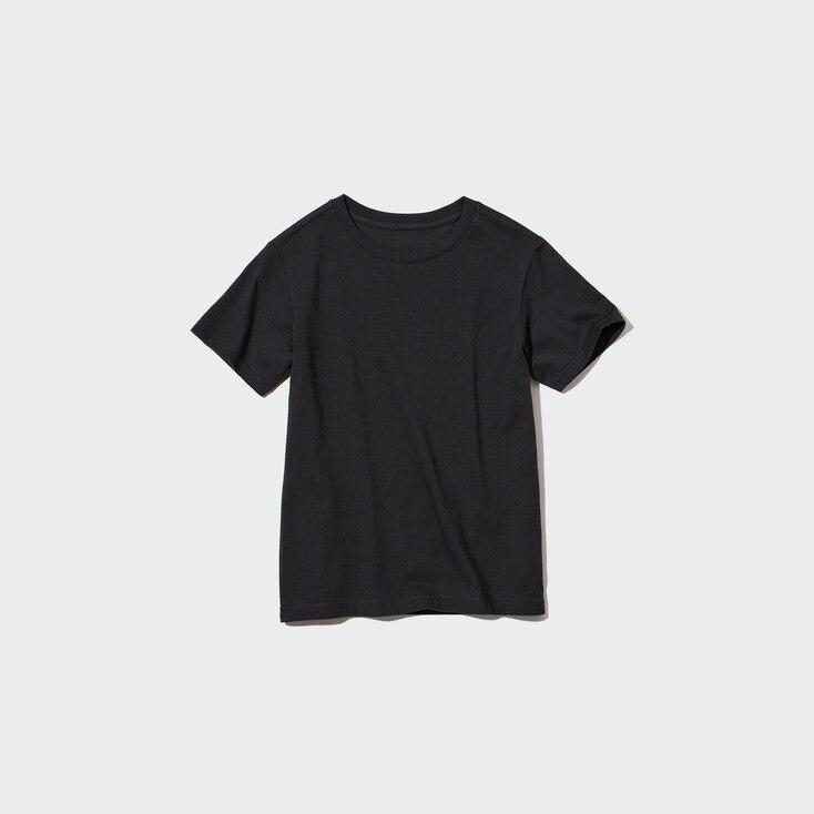 Kids Cotton Color Crew Neck Short-Sleeve T-Shirt, Black, Large