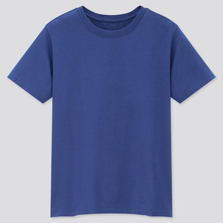 Kids Cotton Color Crew Neck Short-Sleeve T-Shirt, Blue, Large