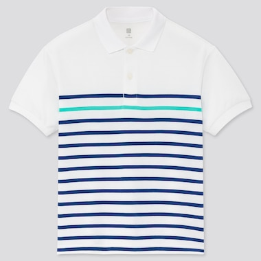 Kids Dry Pique Striped Short-Sleeve Polo Shirt, White, Medium