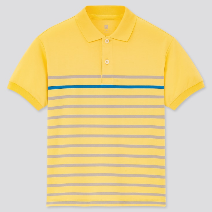 Kids Dry Pique Striped Short-Sleeve Polo Shirt, Yellow, Large