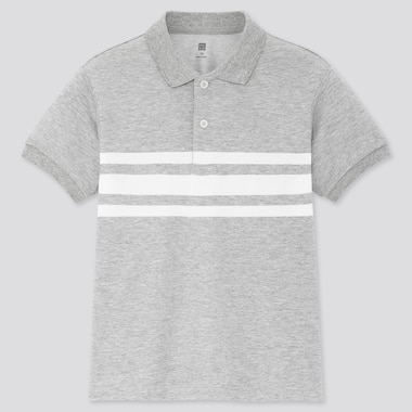 Kids Dry Pique Striped Short-Sleeve Polo Shirt, Gray, Medium