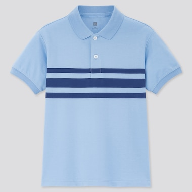 Kids Dry Pique Striped Short-Sleeve Polo Shirt, Blue, Medium