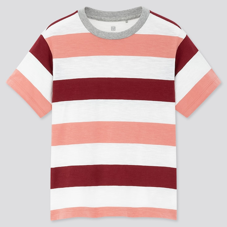 Kids Slub Striped Crew Neck Short-Sleeve T-Shirt, Pink, Large