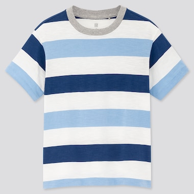 Kids Slub Striped Crew Neck Short-Sleeve T-Shirt, Blue, Medium