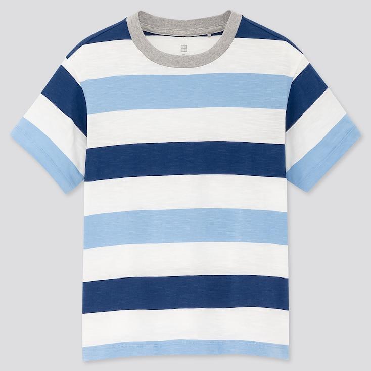 Kids Slub Striped Crew Neck Short-Sleeve T-Shirt, Blue, Large
