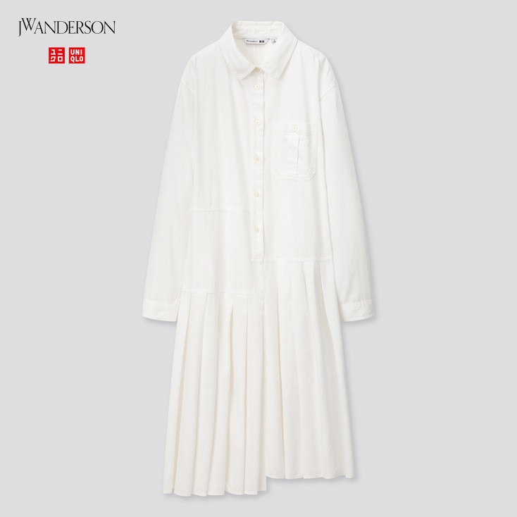 Women Pleated Long-Sleeve Shirt Dress (Jw Anderson), Off White, Large